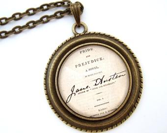 Jane Austen Necklace- Jane Austen Jewellery- Literary Necklace- Literary Jewellery- Jane Austen Gift- Altered Art Jewelry- Pride & Prejudice