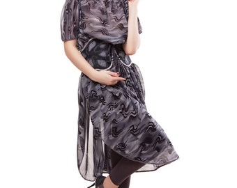 Gray Silk Dress Kaftan