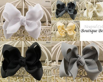Black Boutique Hair Bow, White Boutique Hair Bow, Gray Boutique Hair Bow, Cream Boutique Hair Bow