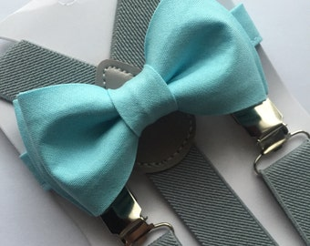Boys Light Blue Bow Tie and Suspenders Sets.Adults&Kids