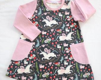 Organic Baby Dress,Organic Toddler Dress, Folkland Knit,Birch Organic,Long Sleeves Dress,Enchanted Unicorns in Dust