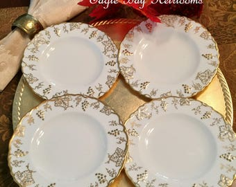 4 Bread & Butter Plates -Royal Crown Derby 'VINE' Gold A775 - Green Mark - Grape Leaves