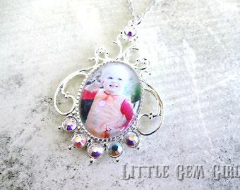Custom Photo Jewelry Victorian Necklace with Swarovski Elements - Photo Pendant Charm - Vintage Style Picture Necklace Wedding Bouquet Charm