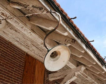 Weathered Train Station Rafters and Lamp Photo — Abandoned Building Photography — Old Rock Island Train Station Oklahoma — Roadside America