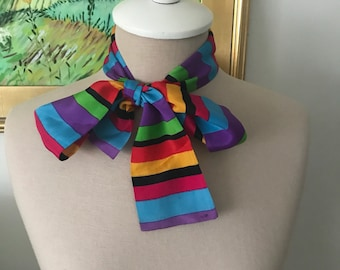 Vintage Silk Scarf for Neck or Waist Pink Green Black Purple Blue Yellow Stripe Belt or Neck Tie 1980s Scarves for Her
