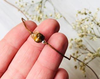 Tiger eye citrine wish bracelet, gemstone bracelet, string stone bracelet, cord bracelet, friendship string bracelet, bff gifts, friend gift
