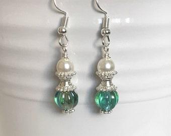 Green Earrings With Pearls, Greenish Blue Earrings, Victorian Pearl Earrings, White Pearl Dangle Earrings, Victorian Style Jewelry