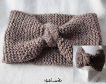 Taupe Merino and alpaca tone headband