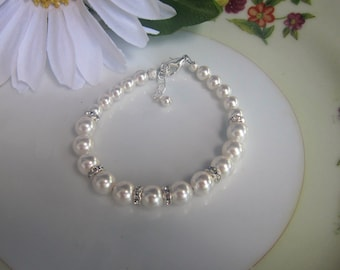 Pearl Bridal Bracelet, Bridal Jewelry, Wedding Jewelry, Wedding Bracelet, Gift for Bridesmaids Gifts Mother of the Bride Jewelry Flower Girl