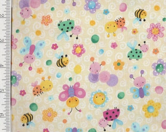 Bees & Butterflies - Per Yd - Blank Quilting - by Sanja Rescek - Bees - Butterflies on Cream