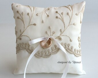 Ivory with beige embroidered branches -wedding ring bearer pillow-ring bearer, ring cushion, ready to ship