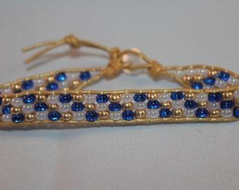 Blue and Gold Single Wrap Bracelet