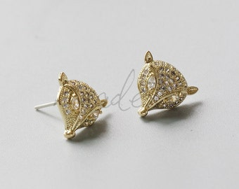 2 Pieces / Gold Plated / Brass Base / Real Gold / Earring Post with Sterling Silver Pin / Fox Head with Rhinestone (C1914)