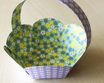 pretty hexagonal Easter basket in purple printed cardstock and white flowers
