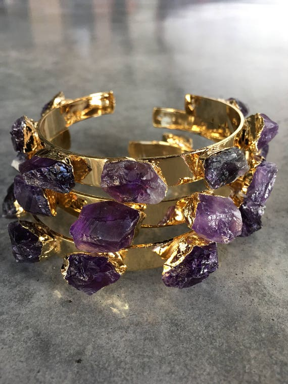 Amethyst cuff Bracelets, birthstone jewelry, February birthstone, boho jewelry