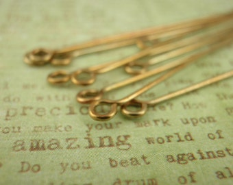 10 Solid Metal Eye Pins - 2 inches - Handmade in Yellow Brass, Rich Low Brass, Bronze, Copper - You Pick Gauge