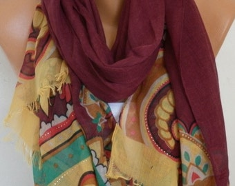 Burgundy Floral Cotton Scarf,Spring Summer, Shawl, Soft, Cowl, Oversized Wrap Gift Ideas For, Her Women Fashion Accessories Women Scarves