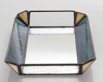 Marbled Blue, Marbled Yellow and Mirror Bottom Jewlery Tray