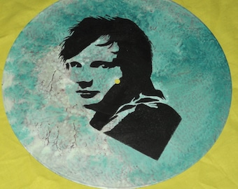 ed sheeran,,, hand painted 12ins disc ready to hang.