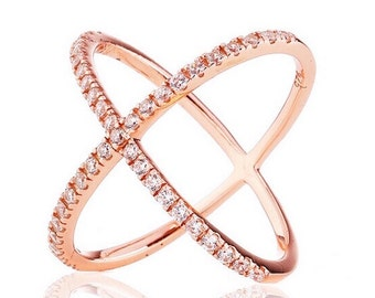 Minimalist 2.45 TCW Rose Gold Pave CZ Cubic Zirconia X Geometric Crisscross Circle Orbit Ring .925 Sterling Silver Size 5-10