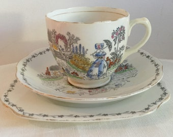 Bell China  vintage tea set dainty teaset porcelain cup and saucer Fine Bone China Trio  Bell pattern 2544  lady parasol english garden