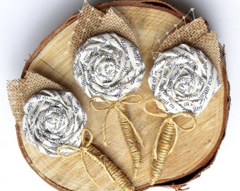 RUSTIC BOUTONNIERE- Burlap Wedding Boutonniere- wedding Black White Burlap Grooms Fabric Printed Boutonniere