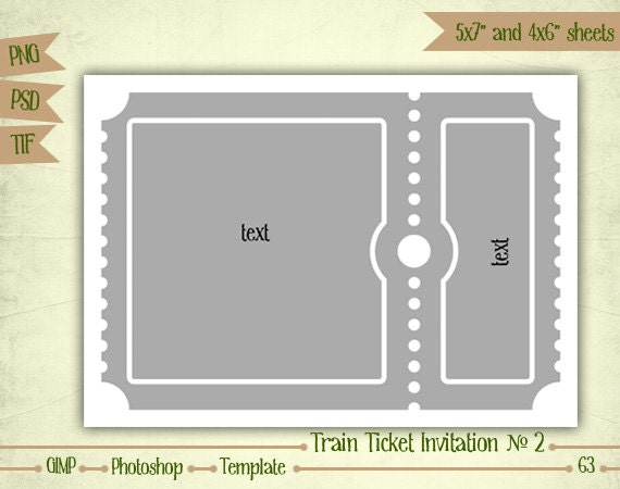 train ticket invitation n2 digital collage sheet layered