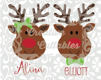Christmas SVG Reindeer Rudolph Santa designs for  Silhouette or other craft cutters (.svg/.dxf/.eps)