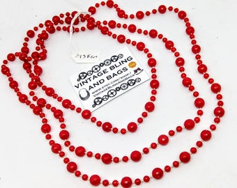 138cm vintage 1980s necklace, faceted red bead necklace, bead necklace, plastic red necklace, vintage necklace, 1980s long red bead necklace