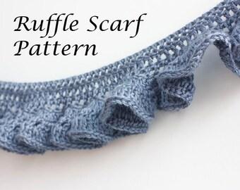 PDF Crochet  Pattern,  Ruffle Scarf Pattern, Digital Download, Crocheted Lace Scarf Pattern