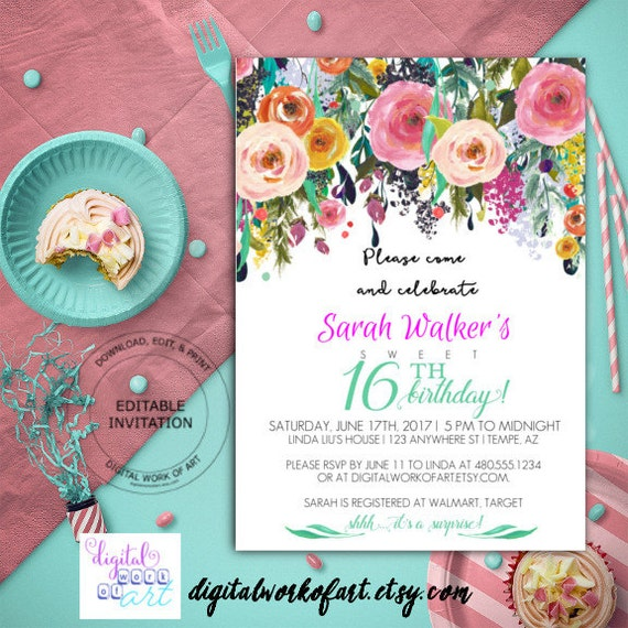 Th Birthday Party Invitation Template DIY Birthday - Diy birthday invitation templates