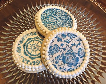 Edible Blue and White Delft China Pattern Cupcake, Cookie, Oreo of Drink Toppers - Wafer Paper or Frosting Sheet