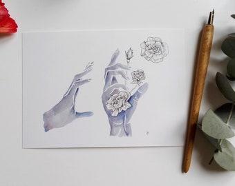 illustration card - flower'hand