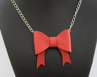 Necklace chain and red leather bow - handmade
