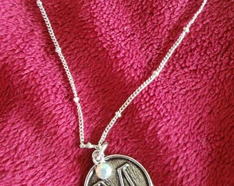 M initial silver necklace