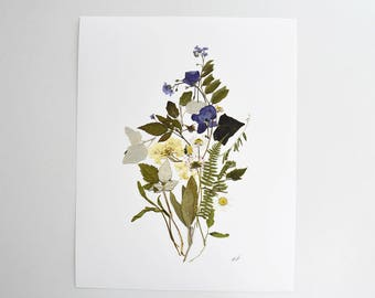 Flower print Pressed flowers print Herbarium Dried flowers Wall art Botanical print Pressed botanicals Plant art dining room wall art