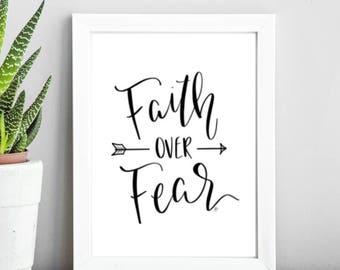 Printable Faith Over Fear Wall Art, Digital Download
