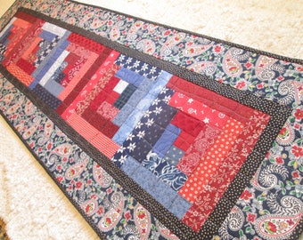 Quilted Patriotic Americana Paisley Log Cabin Cottage Chic Farmhouse Table Runner