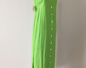 chartreuse green linen dress | button down maxi side slit dress | artist dress