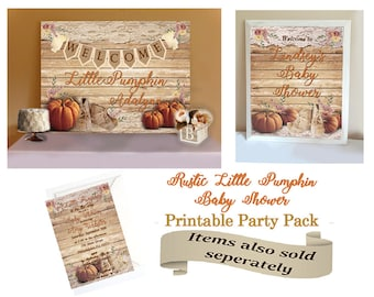 Little Pumpkin Baby Shower Party Package, Rustic Baby Shower Decor