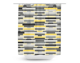 Yellow Shower Curtain, Geometric Shower Curtain, Bath Curtain, Yellow Grey  Black