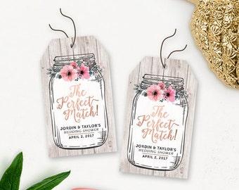 Floral Brautdusche druckbare Danke Tags / rustikale Einmachglas Dusche begünstigt Tags / Traumpartner Hochzeit Dusche bevorzugen Tags