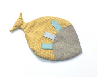 Baby blanket labels mustard polka dot fish