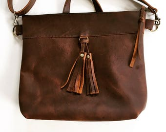 Brown leather crossbody bag, brown leather purse, crossbody purse, leather shoulder bag, everyday bag, leather bag