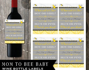 Baby Shower Labels - Mom to Bee - Gender reveal wine bottle labels - personalization available