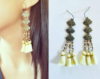 Gift for her, Bohemian earrings, chandelier earrings, festival earrings, gypsy earrings, ethnic earrings, long earrings