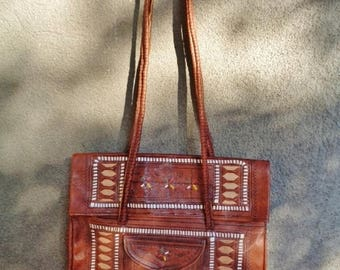 Marocco leather bag,Leather  craft bag ,  Shoulderbag vintage 90's-