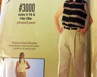 UNCUT Silhouettes 3000 Pleated Pants Misses'  Misses' Sewing Pattern Size 4-18 & 14W-28W Complete Uncut