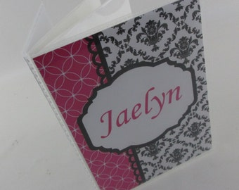 Baby Photo Album, 5x7 or 4x7 picture album, Girl baby album, black and Hot pink Damask, custom personalized baby shower gift 461