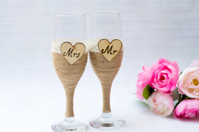 Wedding Glasses Champagne Flutes Burlap Glasses Rustic